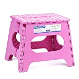 Acko 11Inch Folding Step Stool - The Lightweight Stool is Sturdy Enough to Support Adults and Safe Enough for Kids. Opens Easy with One Flip. Great for Kitchen, Bathroom, Bedroom, Kids or Adults.Pink