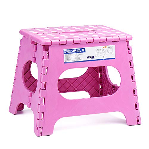 - Acko 11Inch Folding Step Stool - The Lightweight Stool is Sturdy Enough to Support Adults and Safe Enough for Kids. Opens Easy with One Flip. Great for Kitchen, Bathroom, Bedroom, Kids or Adults.Pink