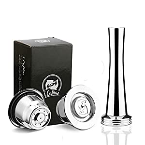 I Cafilas - Capsule in acciaio inossidabile per caffè espresso + 1 cucchiaio + 1 pennello + 1 pennello 2 Capsula