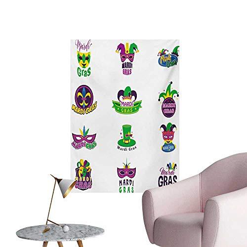 Anzhutwelve Mardi Gras Corridor/Indoor/Living Room Graphic Carnival Masks Hats and Fleur De Lis Symbols Colorful Joyous Event ThemeMulticolor W24 xL32 Custom Poster ()