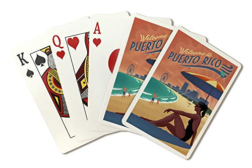 (Puerto Rico - Beach Scene - Lithograph 99628 (Playing Card Deck - 52 Card Poker Size with Jokers))