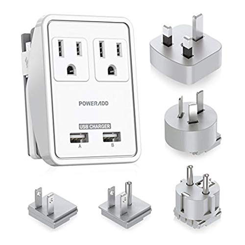 POWERADD Travel Power Adapter Kits - Dual 2.4A USB Ports + 2 Outlets Wall Charger with Worldwide Wall Plugs for UK, US, AU, Europe & Asia, Gift Pouch Included - UL Listed