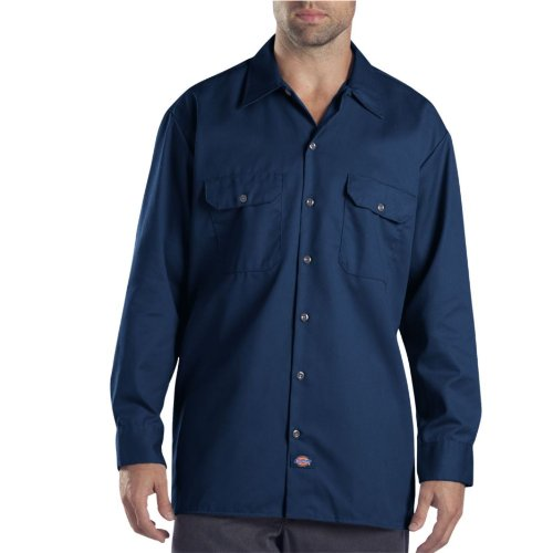 - Dickies Men's Long Sleeve Work Shirt, Dark Navy, 2X