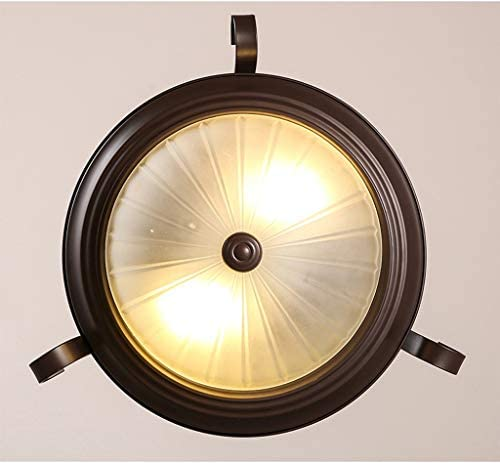 WGFGXQ Ceiling Lights, American Village Ceiling Lights Round European Style French Retro Simple Iron Bedroom Balcony Alley Semi Ceiling Lamp E27 Art Design
