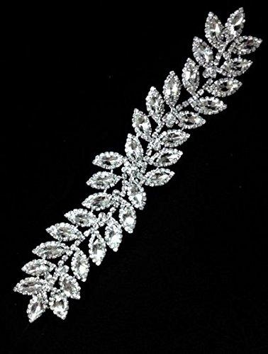 eecdd1f409 Rhinestone Leaf Bridal applique/ Sash Applique/Shine Like Swarovski  Quarlity (Crystal/Silver Setting)