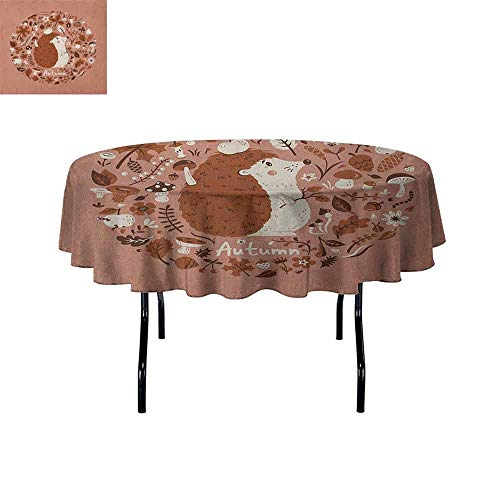 DouglasHill Hedgehog Waterproof Anti-Wrinkle no Pollution Autumn Theme Animal Image with Many Season Elements Pine Cone Leaves Soft Colors Table Cloth D51 Inch Coral Brown