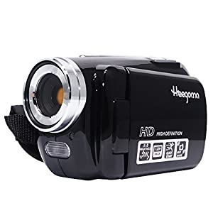 "Digital Video Camcorder, Heegomn FHD 1080P 1920x1080 Video Camera 2.0"" LCD 12MP Digital Video Recorder with 270 Degree Rotation Screen, Black"