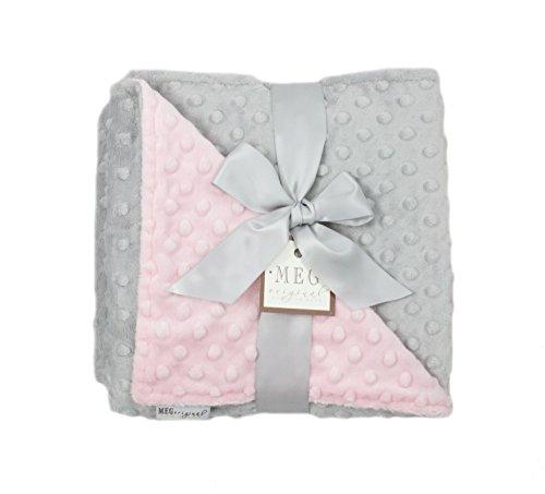 - MEG Original Minky Dot Baby Girl Blanket, Pink and Gray, 384