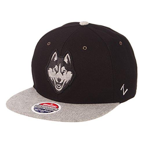 Zephyr NCAA Connecticut Huskies Men's Boss Snapback Hat, Adjustable, Black/Grey Connecticut Huskies Ncaa Applique