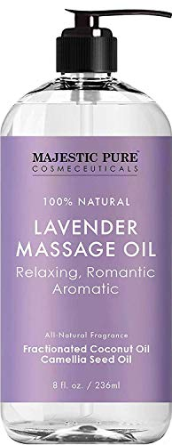 (MAJESTIC PURE Lavender Massage Oil For Men and Women - Great For Calming, Soothing and to Relax - Blend of Natural Oils For Therapeutic Massaging and Aromatherapy - 8 fl oz.  )