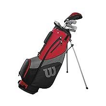 Wilson Golf Medio Set Pro Staff SGI, Juego de Palos de Golf para Hombre, Mano Dominante Izquierda, Nivel Principiante y Avanzado, Grafito, Rojo, WGG150005