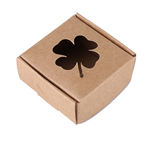 10 Pcs/pack Clover Kraft Gift Box for Handmade Soap Party Wedding Favors Candy Cookies Packing