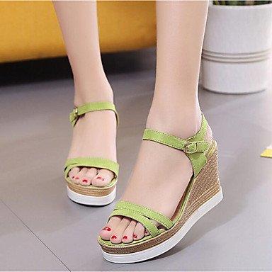 RUGAI-UE Moda de Verano Mujer sandalias casuales zapatos de tacones PU Confort,Negro,35 Green