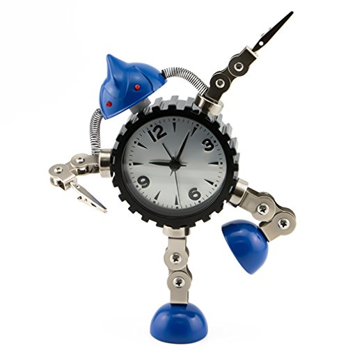 PiLife Metal Robot Alarm Clock, Flashing Lights ,Free to Make Poses, with Card or Note Holder(Large (Steampunk Superheroes)