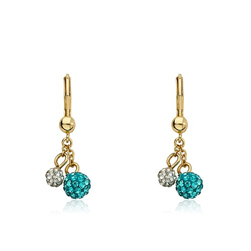 Molly Glitz Glitz Blitz 14k Gold-Plated Blue & White Crystal Balls Lariat Leverback Earring