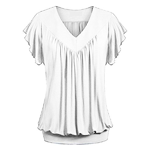 November's Chopin (TM) Women Solid V-neck Pleated Solid Tops Tees Tunic Shirts White M (Quirky Fancy Dress Ideas)