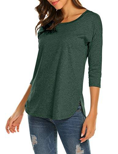 - Sherosa Women's Casual 3/4 sleeve Loose Tunic Tops Scoop Neck T-Shirt (XL, Dark Green)