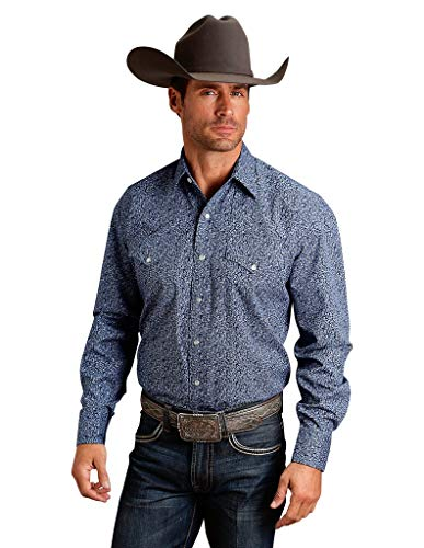 Stetson Men's Paisley Print Long Sleeve Western Shirt Blue X-Large (Paisley Snap Western Shirt)