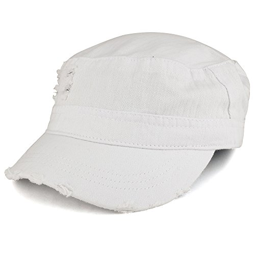 Frayed Herringbone Textured Elastic Band Army Style Cap - White ()