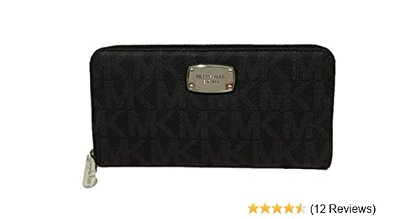 2f30462efd6b Amazon.com: Michael Kors Jet Set Travel Zip Around Travel Wallet - Black  PVC: Clothing
