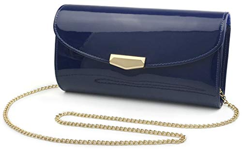 Women Glossy Evening Clutch Faux Patent Leather Chain Shoulder Bag Large Capacity Purse (Blue)