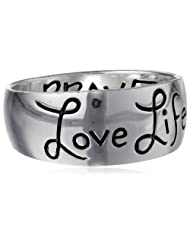 """Sterling Silver """"Love Life"""" Inscribed Outside and """"Be Brave"""" Inside Ring, Size 7"""