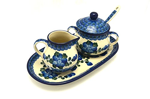 (Polish Pottery Cream & Sugar Set with Sugar Spoon - Blue Poppy)