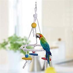 Viet-GT Bird Toys - Wholesale Rope Tri Parrot Perroquet Bird Toy Swing Parrots Cage Toys Cages Parakeet Conure Cockatiel Birds Supplies Parrot Climb 1 PCs