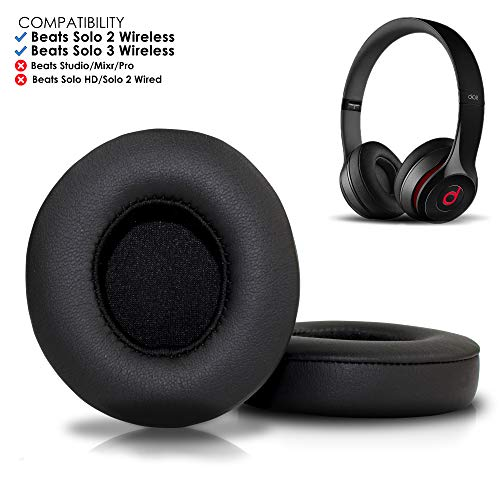 Wicked Cushions Beats Solo 2 & 3 Earpad Replacement - Beats Solo Cushion Replacement for Solo 2 & 3 Wireless On Ear Headphones   Black