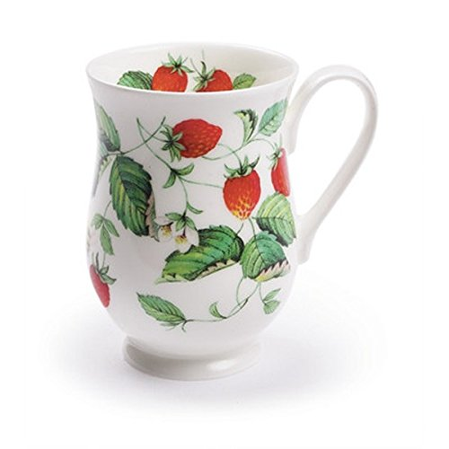 Elegant Strawberry Floral Print Vintage Style Eleanor Mug - Alpine Strawberry Set of 6 by Roy Kirkham