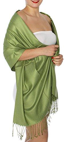 SERENITA Women's Silky Solid Pashmina Style 15 A Green, One Size by SERENITA