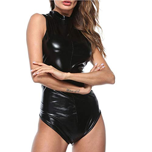 dumanfs Women Leather Look Sexy Bodysuit Clubwear