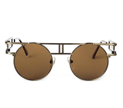 Hommes Vintage Steampunk Cadre Metal Lunettes Femmes Retro Gris Frame Sun de Gothic Lens soleil Round glasses doré F5v5Sx8