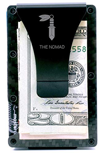 The Nomad Premium Carbon Fiber Wallet - Minimalist Wallet with Money Clip - Front Pocket RFID Wallet| Credit Card Holder |Minimalist Carbon Fiber Wallet for men |Comes with Gift Box ()