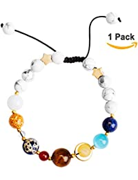 """<span class=""""a-offscreen"""">[Sponsored]</span>Solar System Bracelet, ANBALA Universe Galaxy The Nine Planets Star Guardian White Turquoise Beads Guardian Star..."""