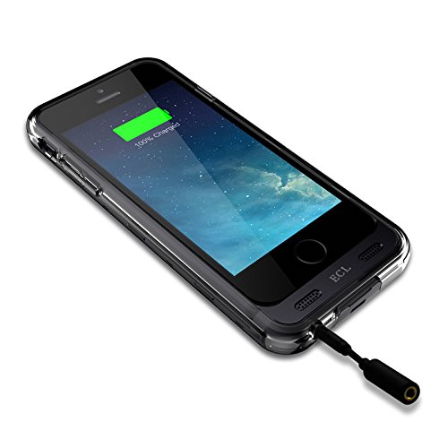 iPhone 6 Battery Case, E.C.L USA ® External 3100mAh Protective iPhone 6 [4.7] Charger Case with 2x Changeable Frames with Short Circuit/Over Charge Protection (iPhone 6 [4.7], Black/Clear)