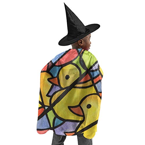 YUIOP Deluxe Halloween Children Costume Rubber Duck Painting Pattern Wizard Witch Cloak Cape Robe and Hat ()
