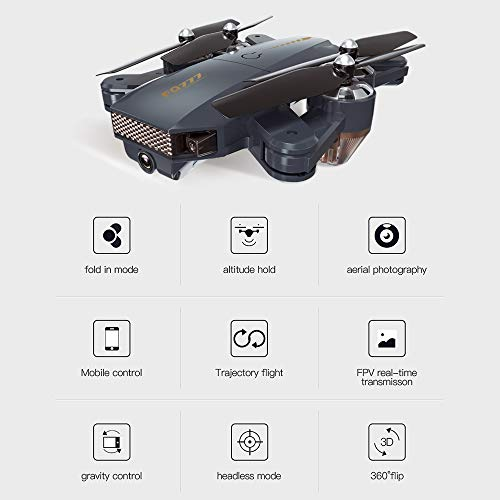 GAOAG-RC-FPV-Drone-Foldable-Quadcopter-with-WiFi-HD-Camera-3D-Flips-One-Key-Return-Headless-Mode-Altitude-Hold-APP-Control-for-BeginnersAlloy-and-Bonus-Modular-Battery-Color-Black