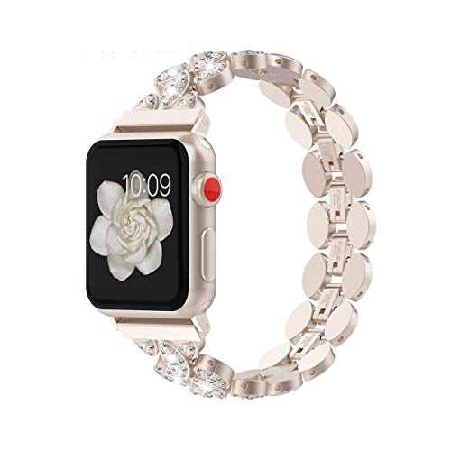 Wearlizer Compatible with Apple Watch Band 38mm 40mm Womens Mens iWatch Unique Corn-Block Straps Rhinestone Wristband Stainless Steel Beauty Luxury Replacement Metal Bracelet 4 3 2 1-Champagne Gold