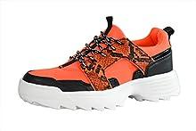 LUCKY STEP Women Glitter Chunky Dad Neon Orange Yellow Snake Sneakers Tennis Casual Lightweight Shoes (9 B(M) US, Orange Black)