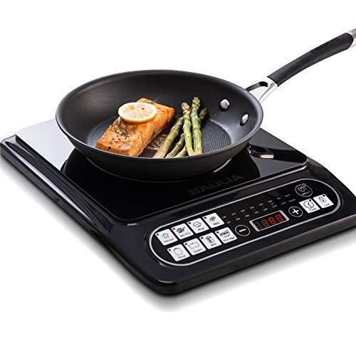 Built In Electric Hot Plate - Baulia SB817 Induction Cooker Single 1500-Watt Countertop Burner for Fast Cooking, Precise Digital Temperature Control + 4 Hour Timer, 1500 Watt, Black
