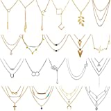 AROIC 20 PCS Pendant Necklace with 14 PCS Gold,6 PCS Sliver,20 Styles of Necklaces for Women Girls Jewelry Fashion and Valentine Birthday Party Gift (Color: necklace-20p)