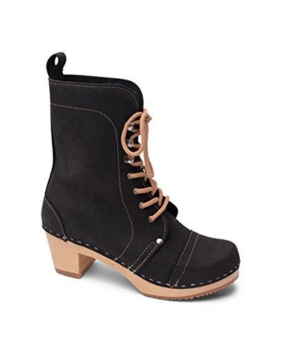 Sandgrens Swedish High Heel Wooden Clog Boots For Women | Berkeley Cap Toe Black ATEFl