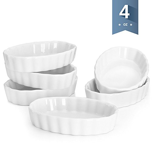 Sweese 5101 Porcelain Ramekins Oval Shape - 4 Ounce for Creme Brulee - Set of 6, 4.7 x 3.2 x 1 Inch, White ()