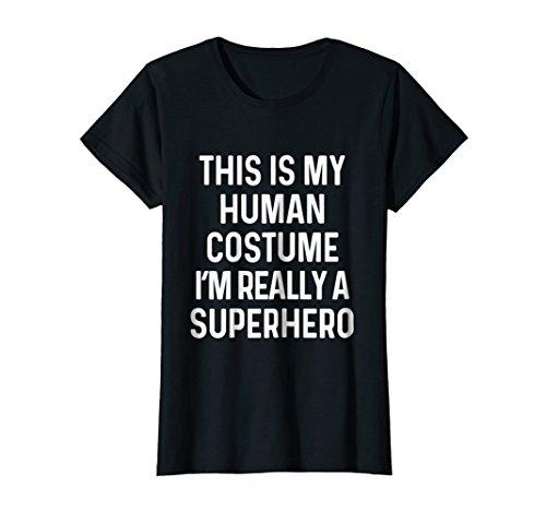 7c6a6dc93ef0f Womens Funny Superhero Costume Shirt Halloween Kids Adult Men Women Medium  Black