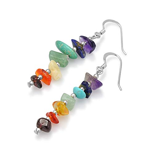 (925 Sterling Silver Seven (7) Chakra Gemstones Long Dangle Hook Earrings)