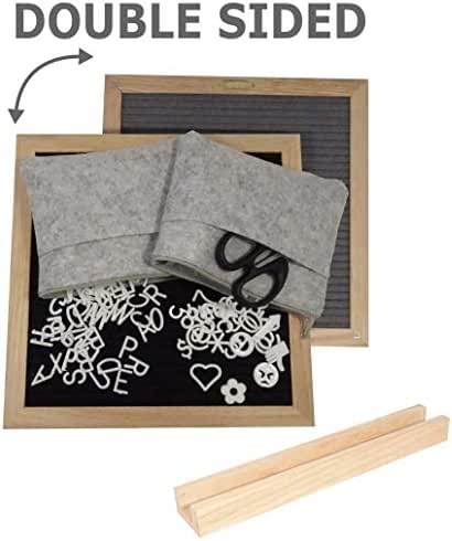 Double-Sided Felt Letter Board 10x10 inches with 680 Plastic Letters, Numbers, Emojis & Symbols   Oak Frame   Included Free: Scissors, 2 Felt Bags and Oak Stand