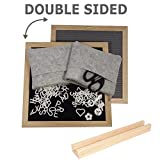 Double-Sided Felt Letter Board 10x10 inches with 680 Plastic Letters, Numbers, Emojis & Symbols | Oak Frame | Included Free: Scissors, 2 Felt Bags and Oak Stand