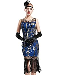 BABEYOND 1920 Vintage Peacock Sequin Fringed Party Flapper Dress