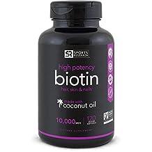 Biotin 10,000mcg with Coconut Oil | Non-GMO & Gluten Free - 120 Mini Veggie Softgels